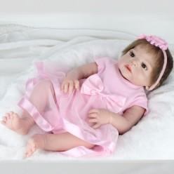 Cиликоновый реборн девочка в розовом платье (арт.2-101)