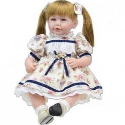 Reborn кукла с двумя хвостиками в очаровательном платьице